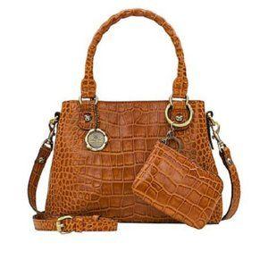 Patricia Nash Norcia Leather Cognac Croc Satchel
